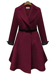 Women's Casual/Daily Simple Coat,Solid Notch Lapel Long Sleeve Fall / Winter Blue / Red Polyester Medium