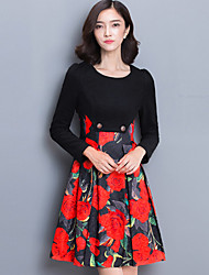 Women's Going out Street chic A Line Dress,Print Round Neck Knee-length Long Sleeve Red / Black Cotton / Polyester Fall