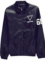 Men's Long Sleeve Casual / Sport Jacket,Polyester Print / Letter Black / Blue / Red / White / Gray