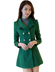 Women's Casual/Daily Simple Double-breasted Hin Thin Coat,Solid Shirt Collar Long Sleeve Winter