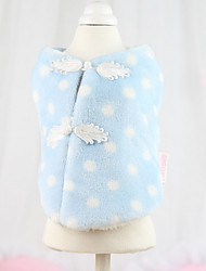 Dog Coat Blue / Yellow Winter Polka Dots Keep Warm, Dog Clothes / Dog Clothing