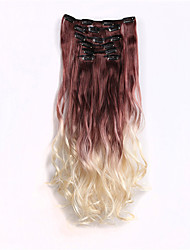 Clip in Ombre Hair Extensions 7pcs/set Long Hairpiece Curly Wavy Heat Resistant Synthetic Two Tone Hair Extensions