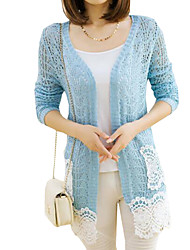 Women's Casual/Daily Simple Long Cardigan,Patchwork Lace Slim Cowl Long Sleeve
