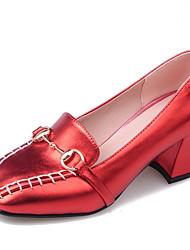 Damen-High Heels-Kleid / Lässig-Kunstleder-Blockabsatz-Absätze / Quadratische Zehe / Geschlossene Zehe-Rot / Silber / Grau / Gold