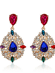 High Quality Water Drop Dangle Earrings 18K Rose Gold Plated Elegant Popular Colorful Crystal Earrings For Women Girls