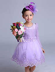 A-line Knee-length Flower Girl Dress - Cotton / Satin / Tulle Long Sleeve Jewel with Flower(s) / Lace / Pearl Detailing