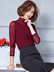 Women's Casual/Daily Simple Fall Blouse,Solid Turtleneck Long Sleeve Blue / Red / Black / Green Cotton / Rayon Thin