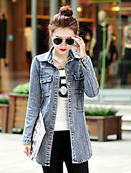 Women's Going out / Casual/Daily Vintage Fall Denim Jackets,Solid Shirt Collar Long Sleeve Gray Cotton Thin
