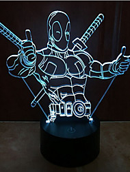 Deadpool di tocco oscuramento 3D LED luce di notte 7colorful lampada atmosfera decorazione di illuminazione novità luce di natale