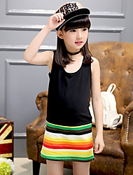Girl's Casual/Daily Striped Dress,Cotton Summer Black / Red / Yellow