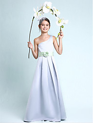 Lanting Bride® Floor-length Satin Junior Bridesmaid Dress A-line / Princess One Shoulder Natural with Draping / Flower(s) / Sash / Ribbon