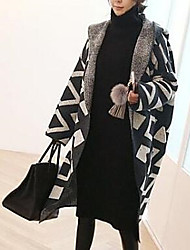 Simple Long Cloak / Capes,Color Block Black Hooded Long Sleeve Cotton Fall Thick Micro-elastic