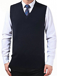 Men's Solid Casual Vest,Wool Long Sleeve Black / White / Gray
