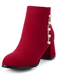 Women's Boots Fashion Boots / Round Toe Party & Evening / Dress / Casual Chunky Heel Imitation Pearl / Zipper / Chain