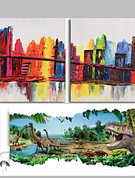 2 Panels Abstract City View Acrylic Painting Handmade Modern Wall Art Home Decor Get Free Dinasour Wall Sticker
