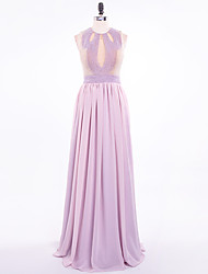 A-Line Jewel Neck Floor Length Chiffon Formal Evening Dress with Beading Pearl Detailing