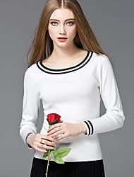 Mara Carol® Women's Round Neck Long Sleeve Sweater & Cardigan White / Pink / Royal Blue-1619130-2
