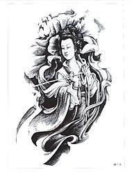 1pc Tattoo Women Men Lotus Flower Body Arm Back Art Temporary Immortal Goodness Guanyin Tattoo Sticker HB-114