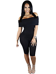 Women's  Knee-length Off Shoulder Ribbed Jumpsuit