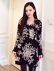 Boutique S Women's Going out Vintage Sweater Dress,Jacquard V Neck Above Knee Long Sleeve Black Others Winter
