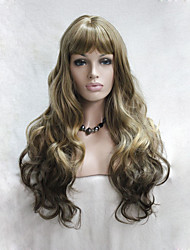 fashion ombre golden brown to light brown mix skin top curly wavy long bangs wig