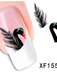 1pcs  Swans and Feathers  Water Transfer Nail Sticker