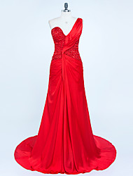 Formal Evening Dress - Sparkle & Shine Trumpet / Mermaid One Shoulder Sweep / Brush Train Chiffon Satin with Beading Pleats