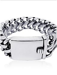 Punk Style Men's 316 Titanium Steel Silver  Fine Jewelry Chain Bracelet (2.4*20cm)