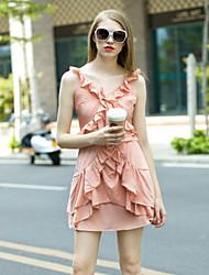 femmes sortir joli fourreau sangle dresssolid au-dessus du genou sans manches en coton rose / polyester
