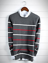 Men's Striped Casual / Work Cardigan,Cotton Long Sleeve Blue / Gray