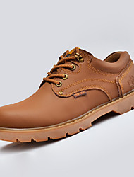 Men's Boots Spring Fall Winter Comfort Fashion Boots Leatherette Casual Flat Heel Lace-up Black Brown Tan Walking