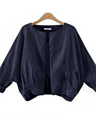 Women's Casual/Daily Simple Fall Jackets,Solid Round Neck Long Sleeve Blue / White Linen Opaque