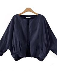 Damen Solide Einfach Lässig/Alltäglich Jacke,Rundhalsausschnitt Herbst Langarm Blau / Weiß Leinen Undurchsichtig