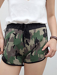 Women's Camouflage Green Shorts Pants,Simple