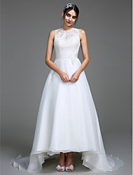 Lanting Bride® A-line Wedding Dress Court Train Jewel Organza / Satin with Appliques / Button / Ruche