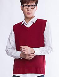 Мужской Однотонный Пуловер На каждый день,Хлопок,Без рукавов,Красный