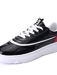 Herren-Sneaker-Lässig-PU-Flacher Absatz-Komfort-Schwarz Weiß