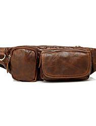 Homem Bolsa de Cintura Lona Casual Marron