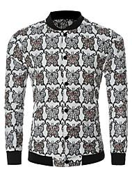Men's Long Sleeve Casual / Sport JacketCotton / Polyester Print Black / Blue / Green / White / Beige
