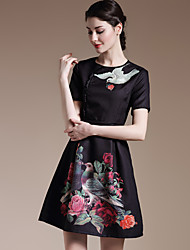 Women's Casual/Daily Vintage A Line Dress,Floral Round Neck Above Knee Short Sleeve White / Black Polyester All Seasons