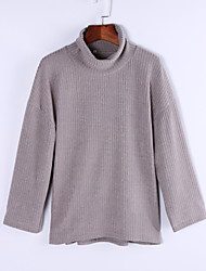 Longue Pullover FemmeCouleur Pleine Gris Col Roulé Manches Longues Cachemire Automne Opaque Micro-élastique
