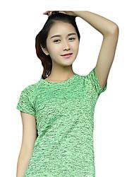 Corrida Camiseta / Pulôver Mulheres Manga Curta Respirável / Secagem Rápida / Redutor de Suor / Confortável Nailom / Náilon Chinês Corrida