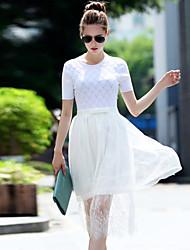 iloveknitting Gehen der Frauen Vintage Pullover Kleid, kurze Hülse weiß / schwarz