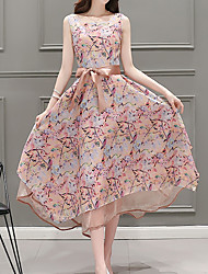 Women's Going out /Cute Chiffon Dress,Floral Round Neck Maxi Sleeveless Pink Others Summer