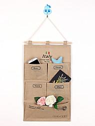 Five Pockets Behind Of The Door Jute Storage Reorganize Bag