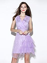 i-yecho einfachen Druckmantelkleid der Frauen, V-Ausschnitt Mini-Polyester