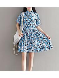 Ample Robe Maternité Décontracté / Quotidien simple,Imprimé Mao Au dessus du genou Manches Courtes Bleu Polyester Eté