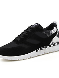 Men's Athletic Shoes Fall Comfort Fabric Athletic Flat Heel Lace-up Black / Black and Red / Black and White Running
