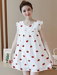 Maternidade Solto Vestido,Casual Moda de Rua Estampado Decote Redondo Acima do Joelho Sem Manga Branco Algodão Verão