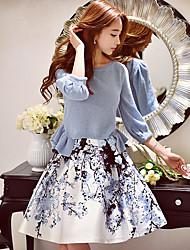 dabuwawa Frauenblumen / Farbblock Röcke, niedlich / Straße chic / anspruchsvolle Knielänge